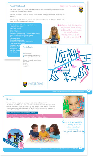 Greswell Primary School Prospectus Design with Designed Bespoke inserts, promo flyers and bookmarks