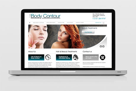 Wolf Studios Web Design project. Hair at Body Contour